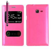 Samsung Galaxy Trend Lite S7390/ Galaxy Fresh Duos S7392: Accessoire Coque Etui Housse Pochette Plastique View Case + Stylet - ROSE
