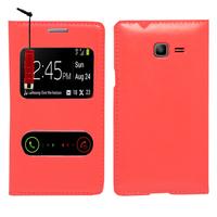 Samsung Galaxy Trend Lite S7390/ Galaxy Fresh Duos S7392: Accessoire Coque Etui Housse Pochette Plastique View Case + mini Stylet - ROUGE
