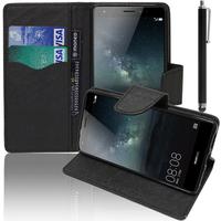 Huawei Mate S: Accessoire Etui portefeuille Livre Housse Coque Pochette support vidéo cuir PU effet tissu + Stylet - NOIR