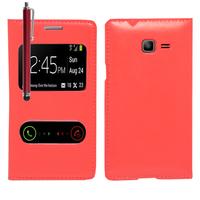 Samsung Galaxy Trend Lite S7390/ Galaxy Fresh Duos S7392: Accessoire Coque Etui Housse Pochette Plastique View Case + Stylet - ROUGE