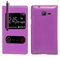 Samsung Galaxy Trend Lite S7390/ Galaxy Fresh Duos S7392: Accessoire Coque Etui Housse Pochette Plastique View Case + Stylet - VIOLET