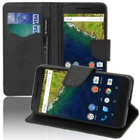 Huawei Nexus 6P: Accessoire Etui portefeuille Livre Housse Coque Pochette support vidéo cuir PU effet tissu - NOIR
