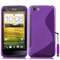 HTC One S/ Special Edition: Accessoire Housse Etui Pochette Coque Silicone Gel motif S Line + mini Stylet - VIOLET