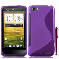 HTC One S/ Special Edition: Accessoire Housse Etui Pochette Coque Silicone Gel motif S Line + Stylet - VIOLET