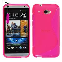 HTC Desire 601 Zara/ Dual Sim: Accessoire Housse Etui Pochette Coque Silicone Gel motif S Line + mini Stylet - ROSE