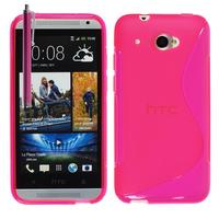 HTC Desire 601 Zara/ Dual Sim: Accessoire Housse Etui Pochette Coque Silicone Gel motif S Line + Stylet - ROSE