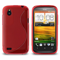 HTC Desire X T328E/ G7X: Accessoire Housse Etui Pochette Coque Silicone Gel motif S Line - ROUGE