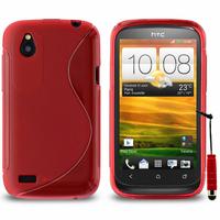 HTC Desire X T328E/ G7X: Accessoire Housse Etui Pochette Coque Silicone Gel motif S Line + mini Stylet - ROUGE