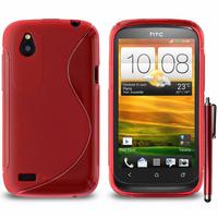 HTC Desire X T328E/ G7X: Accessoire Housse Etui Pochette Coque Silicone Gel motif S Line + Stylet - ROUGE