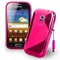 Samsung Galaxy Ace 2 i8160: Accessoire Housse Etui Pochette Coque Silicone Gel motif S Line + mini Stylet - ROSE