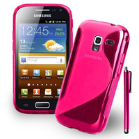 Samsung Galaxy Ace 2 i8160: Accessoire Housse Etui Pochette Coque Silicone Gel motif S Line + Stylet - ROSE