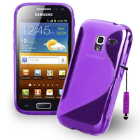 Samsung Galaxy Ace 2 i8160: Accessoire Housse Etui Pochette Coque Silicone Gel motif S Line + mini Stylet - VIOLET