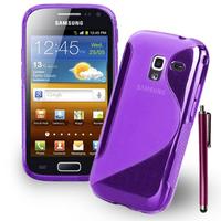 Samsung Galaxy Ace 2 i8160: Accessoire Housse Etui Pochette Coque Silicone Gel motif S Line + Stylet - VIOLET