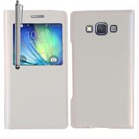 Samsung Galaxy A5 SM-A500F A500H A500K/ A5 Duos SM-A500F/DS SM-A500G/DS A500M/DS (non compatible Galaxy A5 (2016)): Accessoire Coque Etui Housse Pochette Plastique View Case + Stylet - BLANC