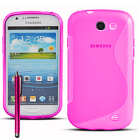 Samsung Galaxy Express I8730/ Express I437: Accessoire Housse Etui Pochette Coque Silicone Gel motif S Line + Stylet - ROSE