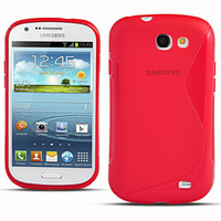 Samsung Galaxy Express I8730/ Express I437: Accessoire Housse Etui Pochette Coque Silicone Gel motif S Line - ROUGE
