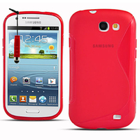 Samsung Galaxy Express I8730/ Express I437: Accessoire Housse Etui Pochette Coque Silicone Gel motif S Line + mini Stylet - ROUGE