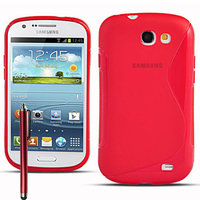 Samsung Galaxy Express I8730/ Express I437: Accessoire Housse Etui Pochette Coque Silicone Gel motif S Line + Stylet - ROUGE