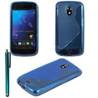 Samsung Galaxy Nexus i9250/ i9250M/ Google Nexus 3: Accessoire Housse Etui Pochette Coque Silicone Gel motif S Line + Stylet - BLEU
