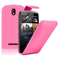HTC Desire 500/ Dual Sim: Accessoire Etui Housse Coque Pochette simili cuir à rabat vertical - ROSE