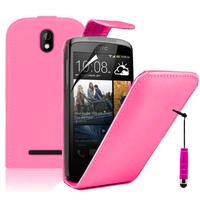 HTC Desire 500/ Dual Sim: Accessoire Etui Housse Coque Pochette simili cuir à rabat vertical + mini Stylet - ROSE