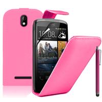 HTC Desire 500/ Dual Sim: Accessoire Etui Housse Coque Pochette simili cuir à rabat vertical + Stylet - ROSE