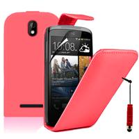HTC Desire 500/ Dual Sim: Accessoire Etui Housse Coque Pochette simili cuir à rabat vertical + mini Stylet - ROUGE