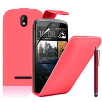 HTC Desire 500/ Dual Sim: Accessoire Etui Housse Coque Pochette simili cuir à rabat vertical + Stylet - ROUGE