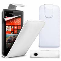 HTC Windows Phone 8S: Accessoire Etui Housse Coque Pochette simili cuir à rabat vertical - BLANC