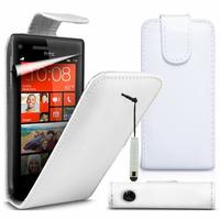 HTC Windows Phone 8S: Accessoire Etui Housse Coque Pochette simili cuir à rabat vertical + mini Stylet - BLANC