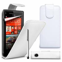 HTC Windows Phone 8S: Accessoire Etui Housse Coque Pochette simili cuir à rabat vertical + Stylet - BLANC