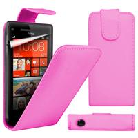 HTC Windows Phone 8S: Accessoire Etui Housse Coque Pochette simili cuir à rabat vertical - ROSE