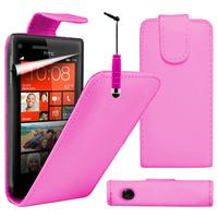 HTC Windows Phone 8S: Accessoire Etui Housse Coque Pochette simili cuir à rabat vertical + mini Stylet - ROSE