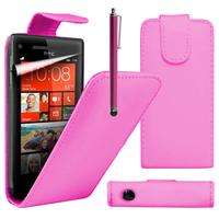 HTC Windows Phone 8S: Accessoire Etui Housse Coque Pochette simili cuir à rabat vertical + Stylet - ROSE
