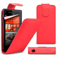 HTC Windows Phone 8S: Accessoire Etui Housse Coque Pochette simili cuir à rabat vertical - ROUGE