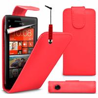 HTC Windows Phone 8S: Accessoire Etui Housse Coque Pochette simili cuir à rabat vertical + mini Stylet - ROUGE