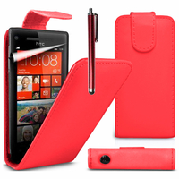 HTC Windows Phone 8S: Accessoire Etui Housse Coque Pochette simili cuir à rabat vertical + Stylet - ROUGE