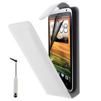 HTC Desire X T328E/ G7X: Accessoire Etui Housse Coque Pochette simili cuir à rabat vertical + mini Stylet - BLANC