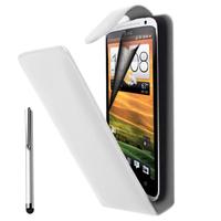 HTC Desire X T328E/ G7X: Accessoire Etui Housse Coque Pochette simili cuir à rabat vertical + Stylet - BLANC