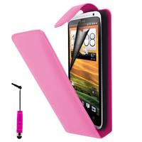 HTC Desire X T328E/ G7X: Accessoire Etui Housse Coque Pochette simili cuir à rabat vertical + mini Stylet - ROSE