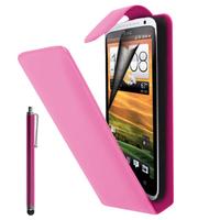 HTC Desire X T328E/ G7X: Accessoire Etui Housse Coque Pochette simili cuir à rabat vertical + Stylet - ROSE