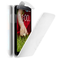LG G2 D802/ D803/ VS980/ D800/ D801/ D802TA/ LS980: Accessoire Etui Housse Coque Pochette simili cuir à rabat vertical - BLANC
