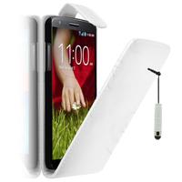LG G2 D802/ D803/ VS980/ D800/ D801/ D802TA/ LS980: Accessoire Etui Housse Coque Pochette simili cuir à rabat vertical + mini Stylet - BLANC