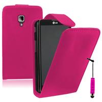 LG Optimus L7 II P710/ L7X P714: Accessoire Etui Housse Coque Pochette simili cuir à rabat vertical + mini Stylet - ROSE