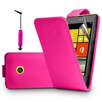Nokia Lumia 520/ 525/ 521 RM-917: Accessoire Etui Housse Coque Pochette simili cuir à rabat vertical + mini Stylet - ROSE