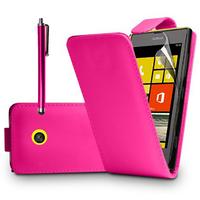 Nokia Lumia 520/ 525/ 521 RM-917: Accessoire Etui Housse Coque Pochette simili cuir à rabat vertical + Stylet - ROSE