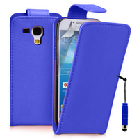 Samsung Galaxy Trend S7560/ Galaxy S Duos S7562/ Ace II X S7560M: Accessoire Etui Housse Coque Pochette simili cuir à rabat vertical + mini Stylet - BLEU FONCE