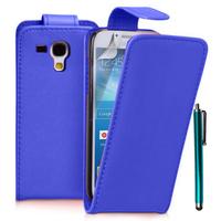Samsung Galaxy Trend S7560/ Galaxy S Duos S7562/ Ace II X S7560M: Accessoire Etui Housse Coque Pochette simili cuir à rabat vertical + Stylet - BLEU FONCE