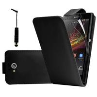 Sony Xperia C C2305: Accessoire Etui Housse Coque Pochette simili cuir à rabat vertical + mini Stylet - NOIR