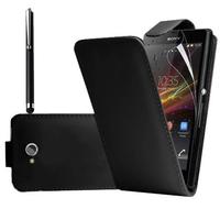 Sony Xperia C C2305: Accessoire Etui Housse Coque Pochette simili cuir à rabat vertical + Stylet - NOIR